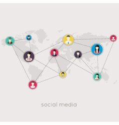 Flat icons for social media and network connection vector