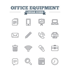 Office equipment linear icons set thin outline vector