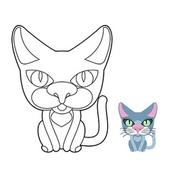Cat coloring book linear pet vector