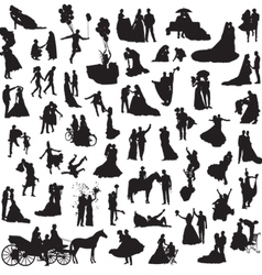 Set of silhouettes of wedding couples vector