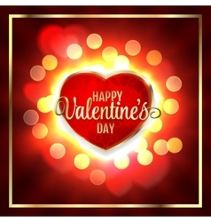 Happy valentines day greeting card and heart light vector