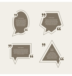 Quote mark speech bubbles set vector