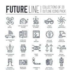 Premium quality future thin line ollection set vector