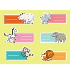 Baby tags with wild animals vector