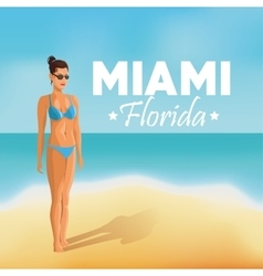 Girl and beach icon miami florida design vector
