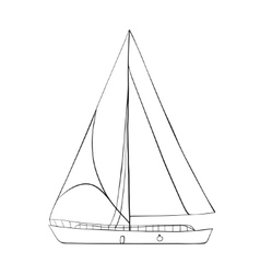 Contour of sailboats isolated on white vector
