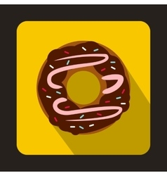 Chocolate donut icon in flat style vector