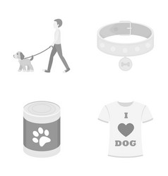 A man walks with a dog a collar with a medal vector
