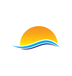 Abstract sunset wave logo vector