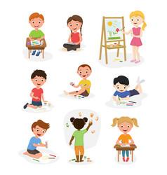 Artist young school kids children making creative vector