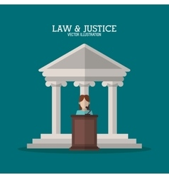 Building and witness of law and justice design vector