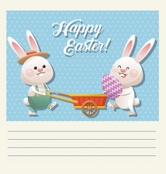 Cartoon happy easter couple bunny egg vector