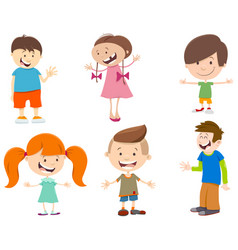 cartoon set of kid characters vector image vector image