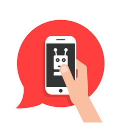 chatbot phone on red speech bubble vector image vector image
