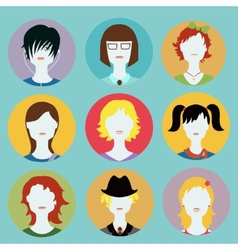 collection of women avatars in flat style vector image vector image