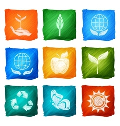 Ecology Icons Watercolor vector image