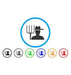 farmer with pitchfork rounded icon vector image
