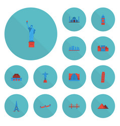Flat icons the forbidden city great pyramid vector