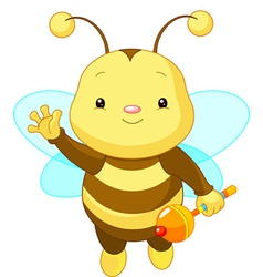 friendly cute baby bee vector image vector image