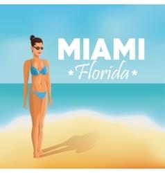 Girl and beach icon miami florida design vector