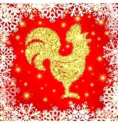 Golden glitter crowing rooster with sparkles vector