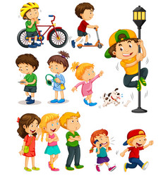 Kids doing different activities vector
