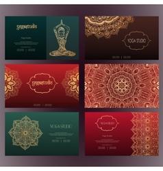 Mandalas business card 4 yoga vector