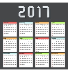 modern calendar 2017 on black vector image