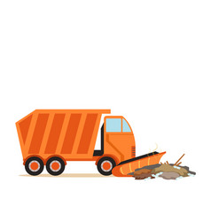 orange truck plowing garbage waste recycling and vector image