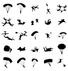 Parachutist silhouette set simple style vector image vector image