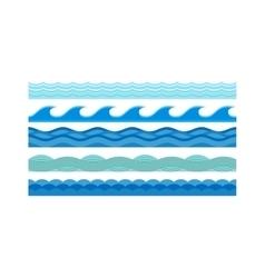 Sea waves pattern set horizontally ocean abstract vector image