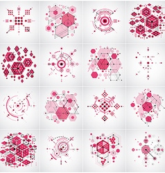 Set of abstract red backgrounds created in bauhaus vector