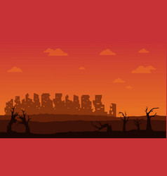 Silhouette of broken forest and city vector