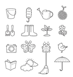 Spring Outline Icons Set vector image vector image