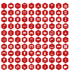 100 furnishing icons hexagon red vector