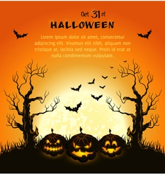 Oran halloween background with pumpkins full moon vector image