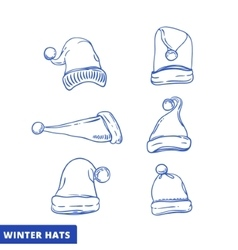 Xmas hat sketch set line art vector