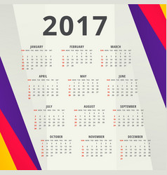 New year 2017 calendar design template with vector