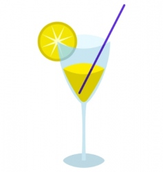 Glass with a yellow drink vector