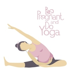 Pregnant woman doing yoga vector