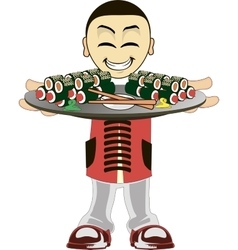 Cartoon asian waiter vector