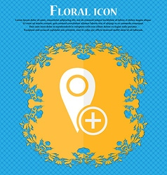 Map pointer icon sign floral flat design on a blue vector