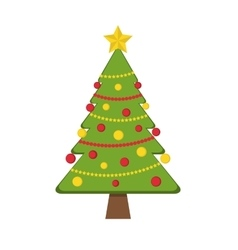 Decorated christmas tree with garlands and vector