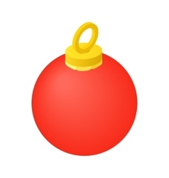 Red christmas ball isometric icon vector