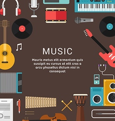 Musical concept of musical instruments and icons vector