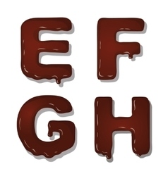 Latin capital alphabet letters of chocolate vector