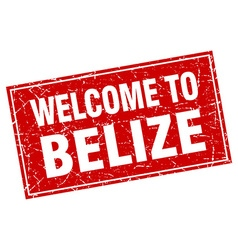 Belize red square grunge welcome to stamp vector