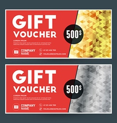 Golden and silver gift voucher design print vector