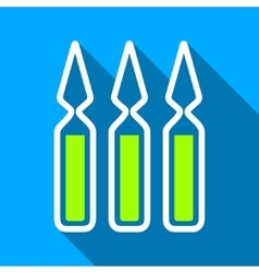 Ampoules flat long shadow square icon vector