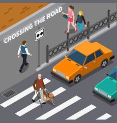 Blind person on crosswalk isometric vector